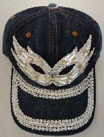 Denim Hat with Bling [Masquerade Mask] Silver